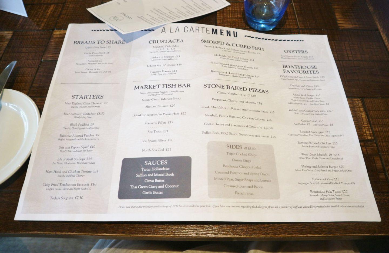 Cameron House The Boathouse menu