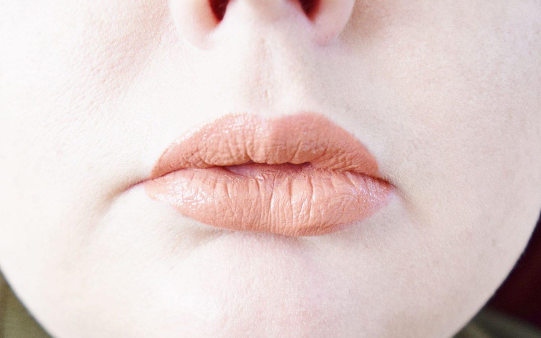 B. Cassie Lomas Matte Liquid Lipstick in All About Me lip swatch