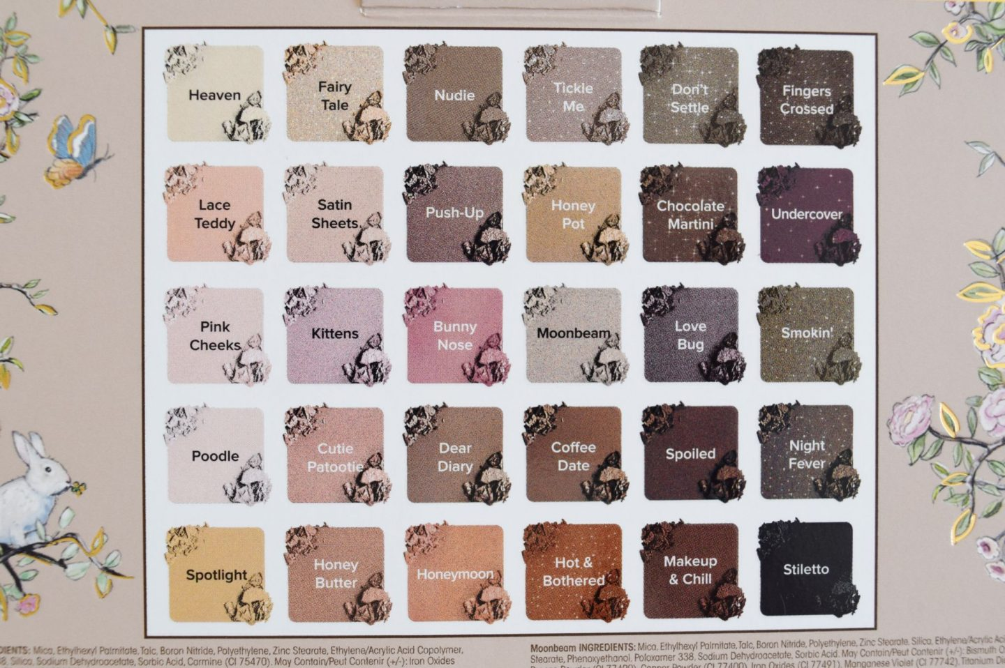 too faced natural love eyeshadow palette shade guide
