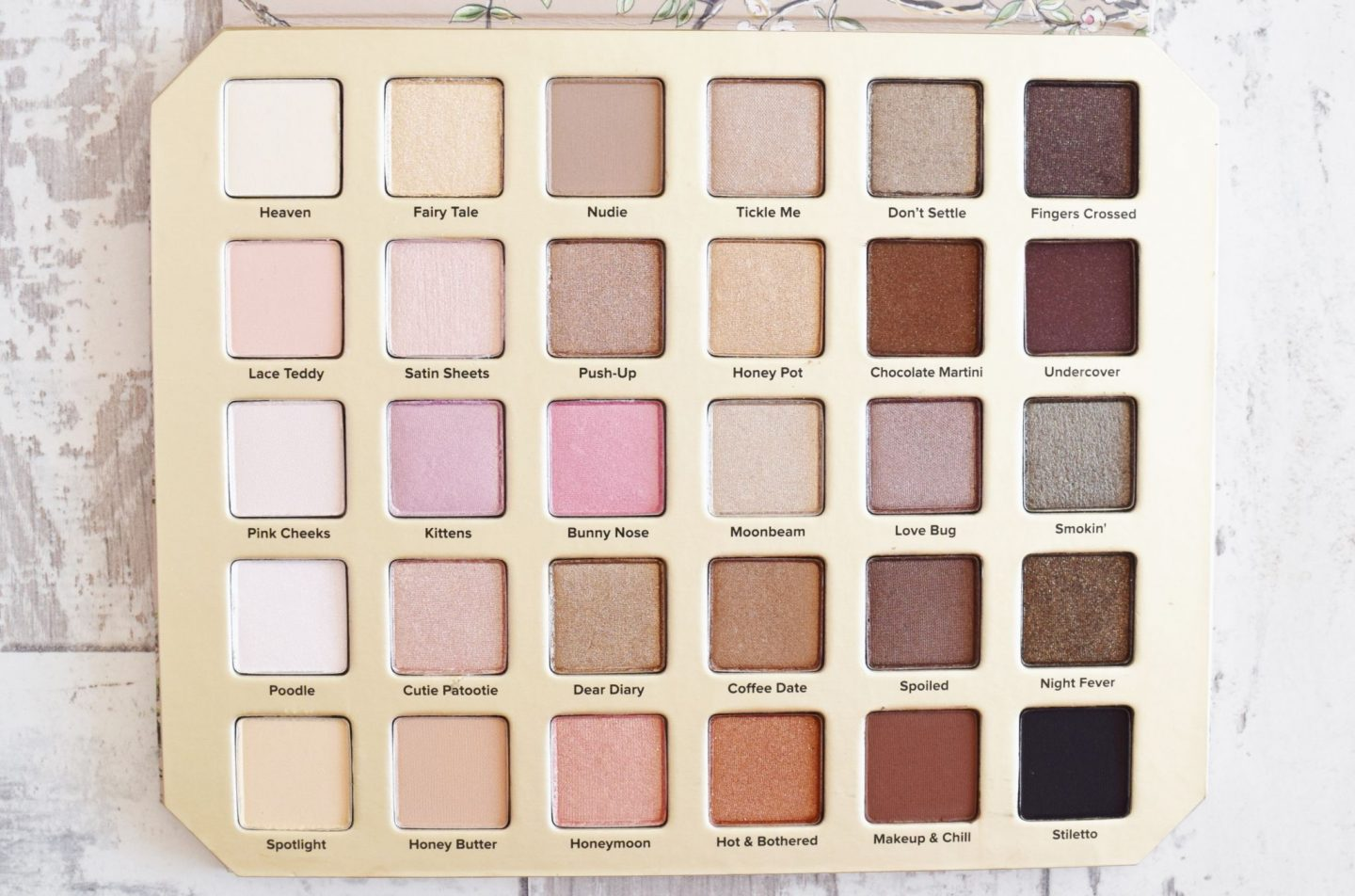 too faced natural love eyeshadow palette shades