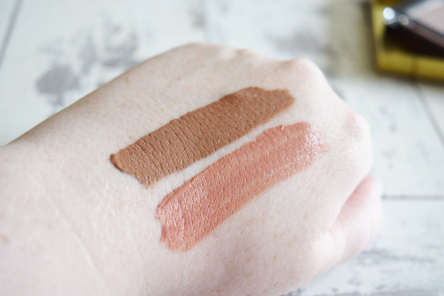 B. Cassie Lomas Matte Liquid Lipstick in All About Me hand swatch