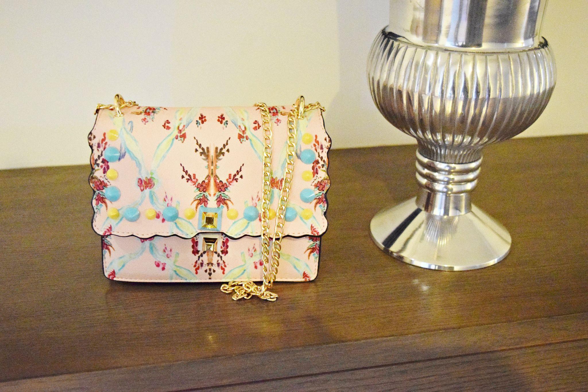 floral studded handbag