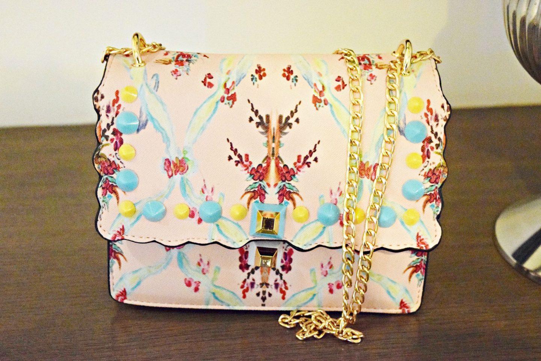 floral handbag with coloured rivets