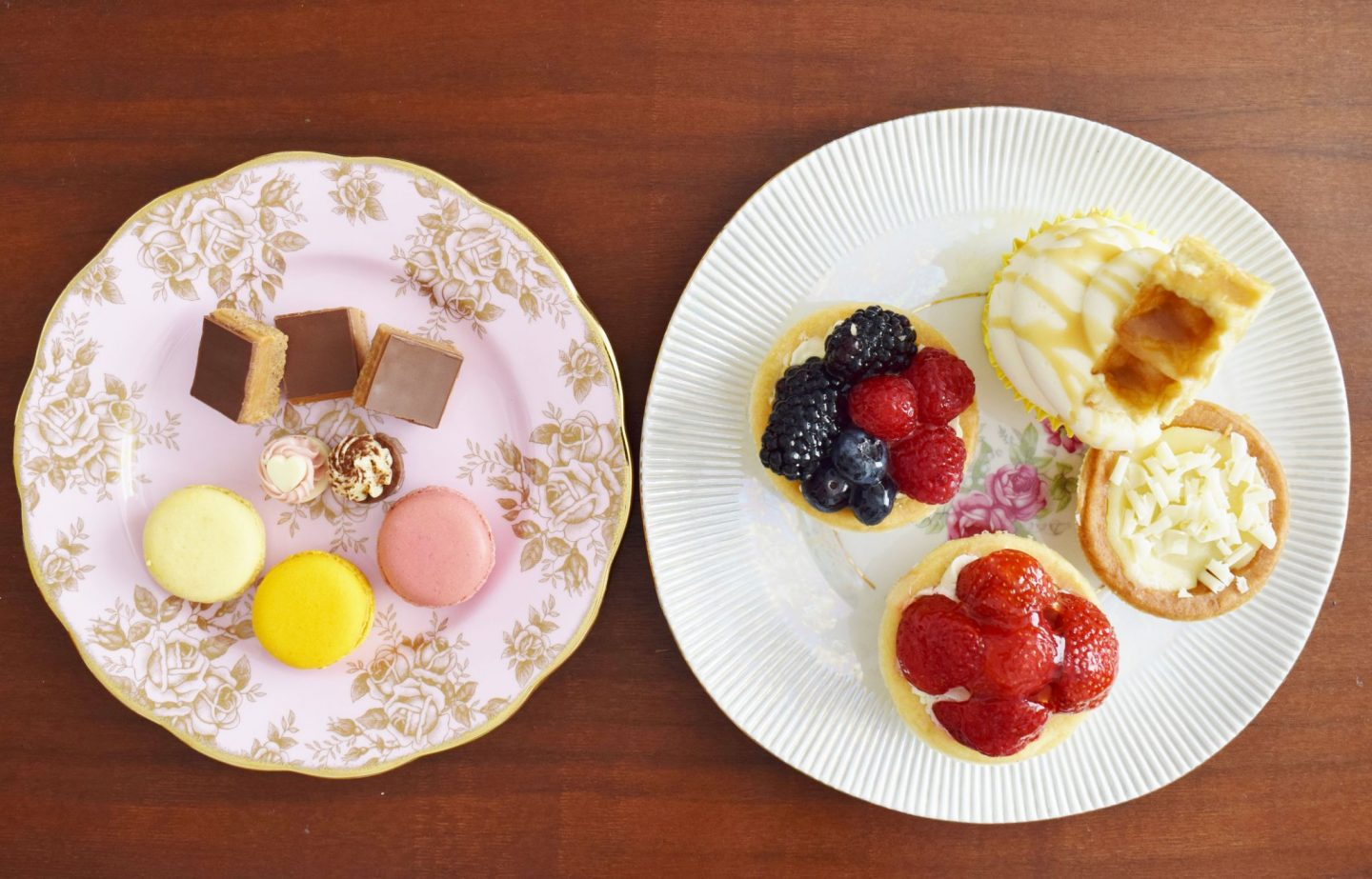plates of cakes