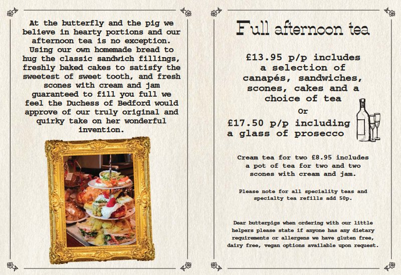 butterfly and pig afternoon tea menu