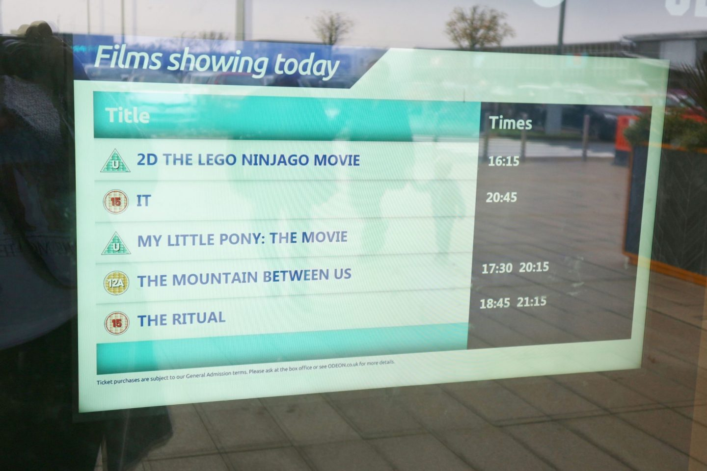 odeon now showing board