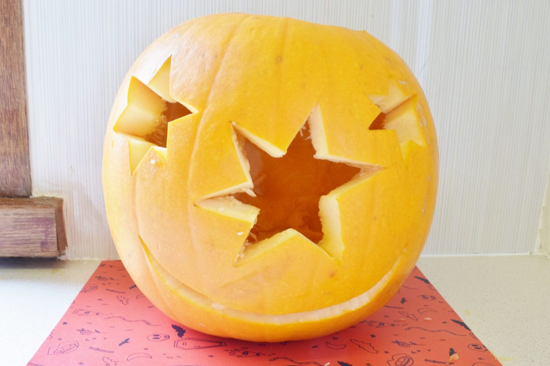 star face carved pumpkin