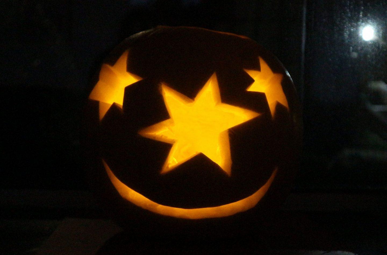lit Halloween pumpkin