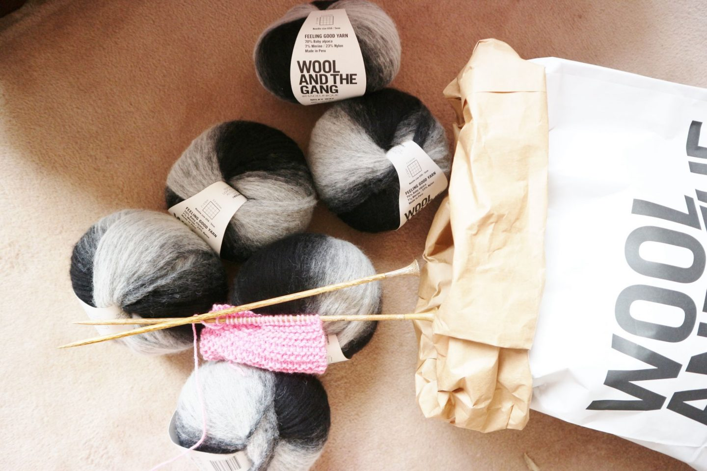 Wool and the Gang Risin' Sun Cardigan Knitting Kit with Milky Way Stripe Wool