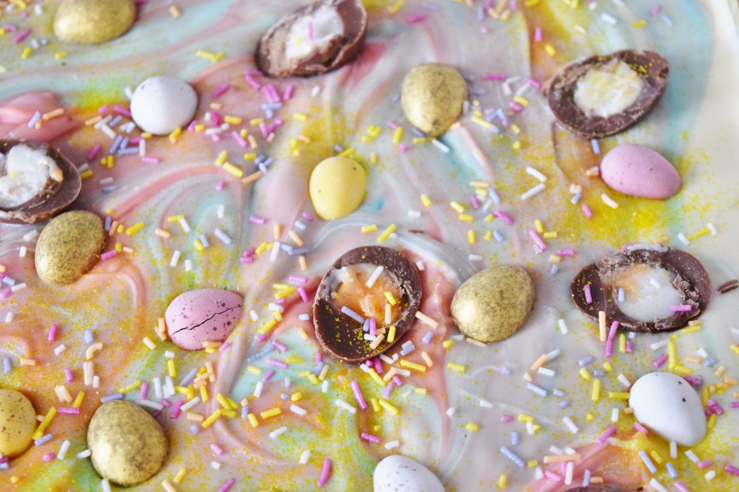 colourful easter chocolate bark