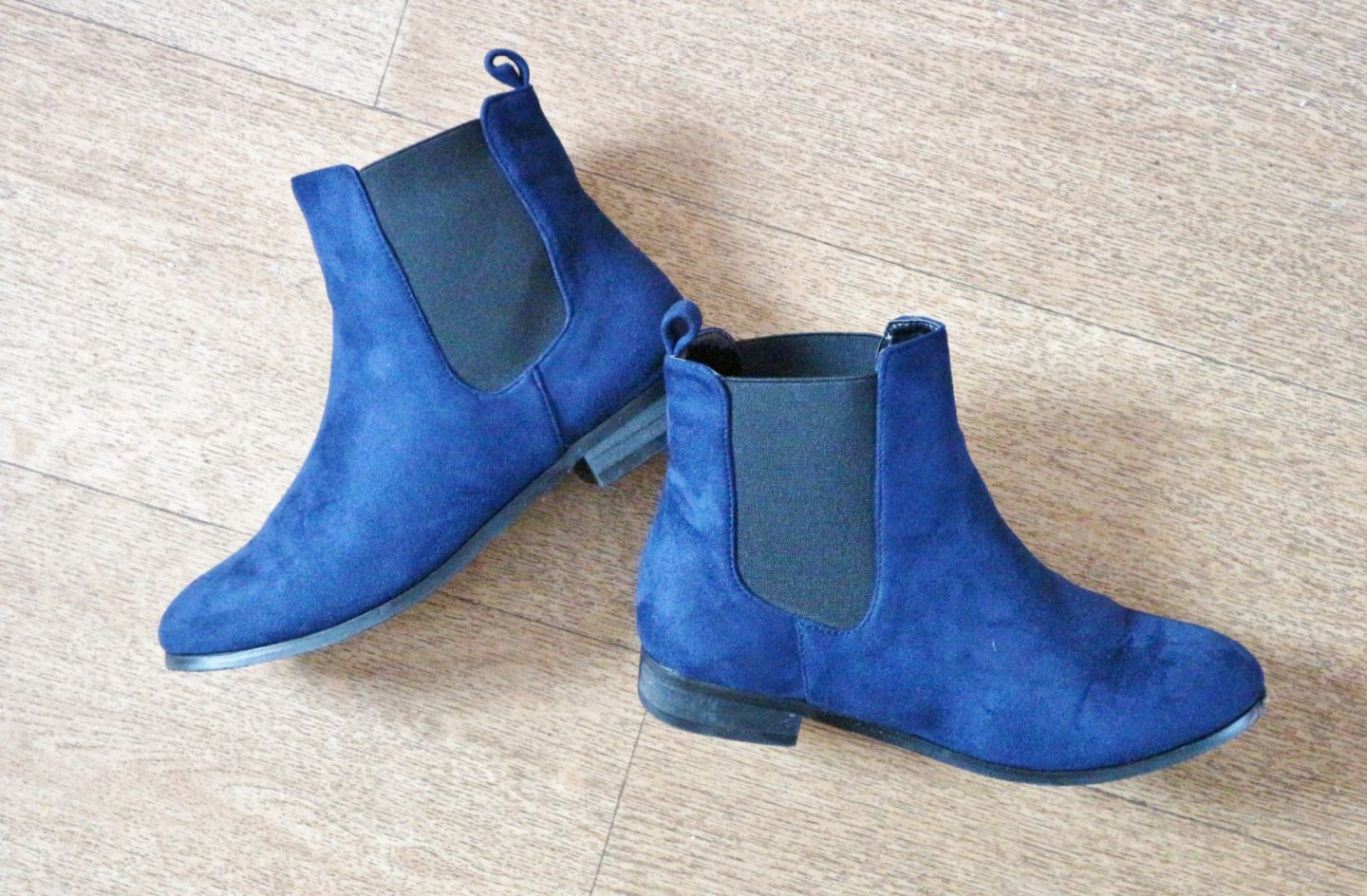 XY London Kadie Navy Faux Suede Elasticated Chelsea Boots