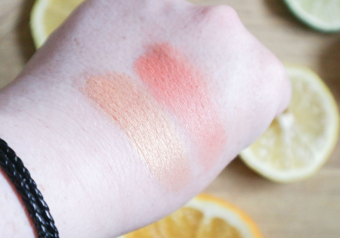 Too Faced Tutti Fruit Fruit Cocktails Strobing Blush Duo in Apricot in the Act swatched