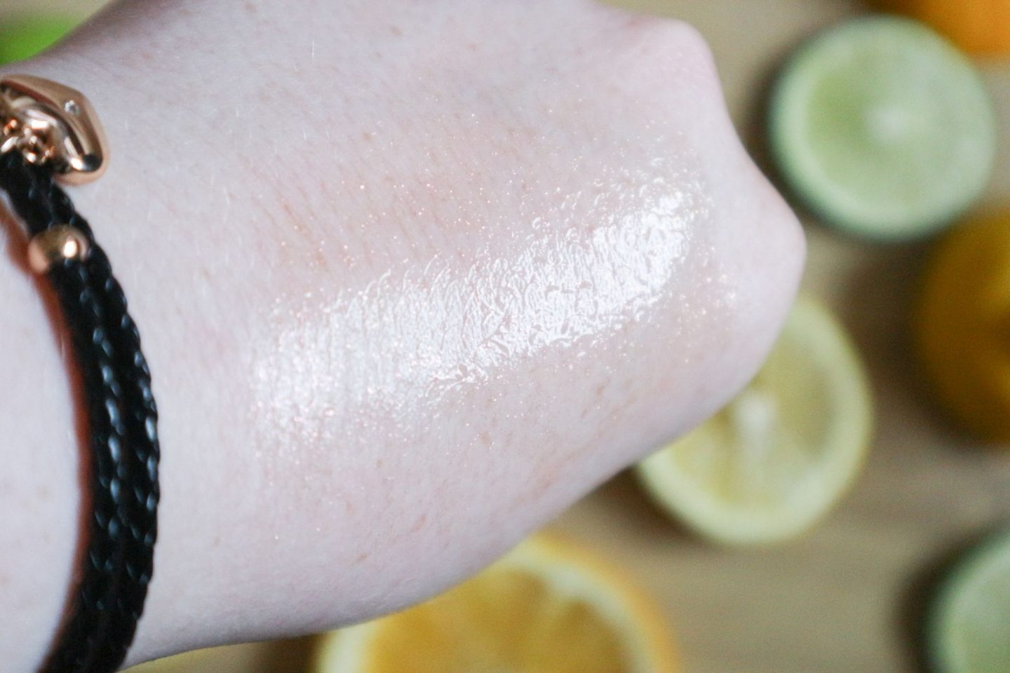Too Faced Tutti Fruiti Fresh Squeezed Highlighter Drops in Sparking Pink Grapefruit swatch