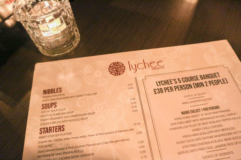 lychee oriental glasgow menu