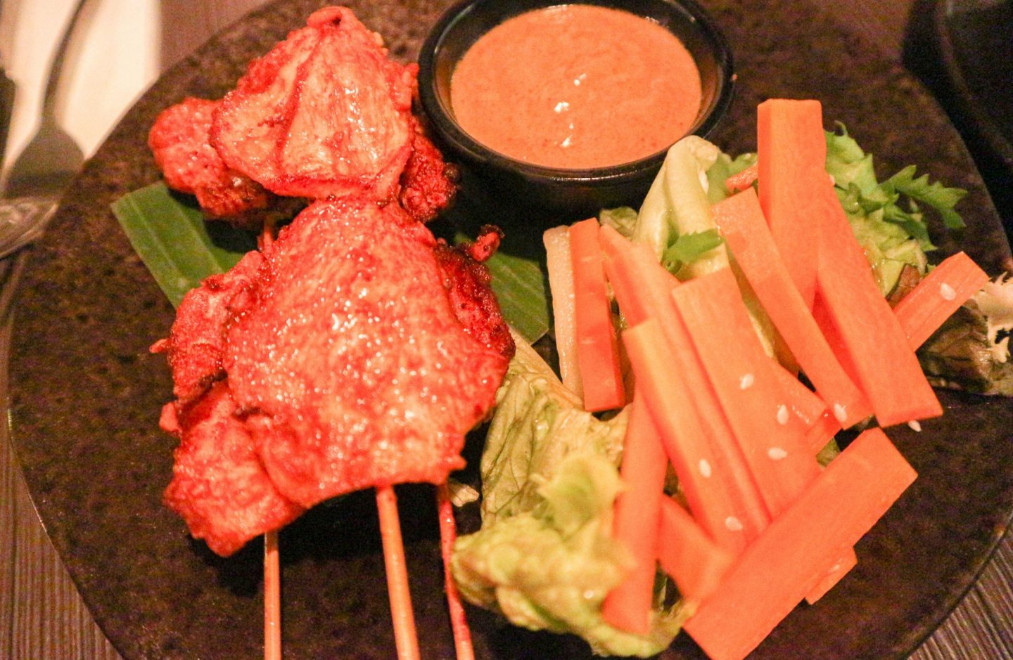 lychee oriental Chargrilled Chicken Satay Skewers