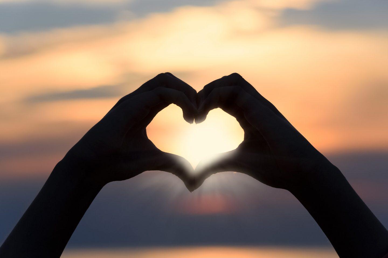 heart sunset view