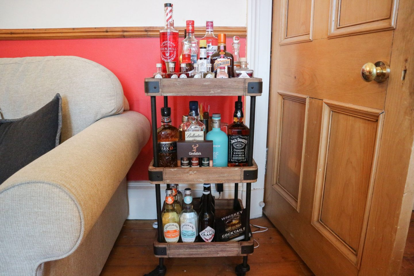 rustic wooden bar cart
