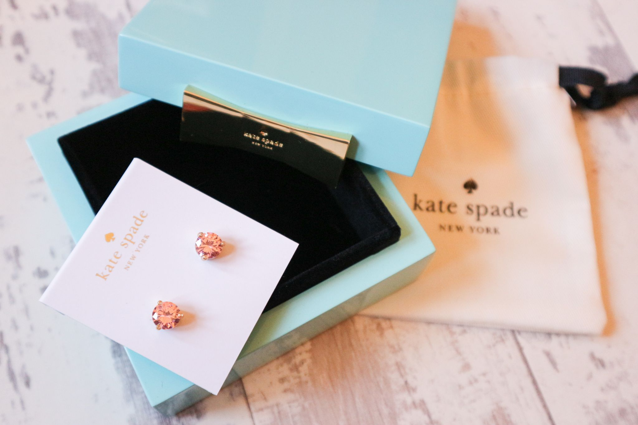 kate spade earrings and trinket box