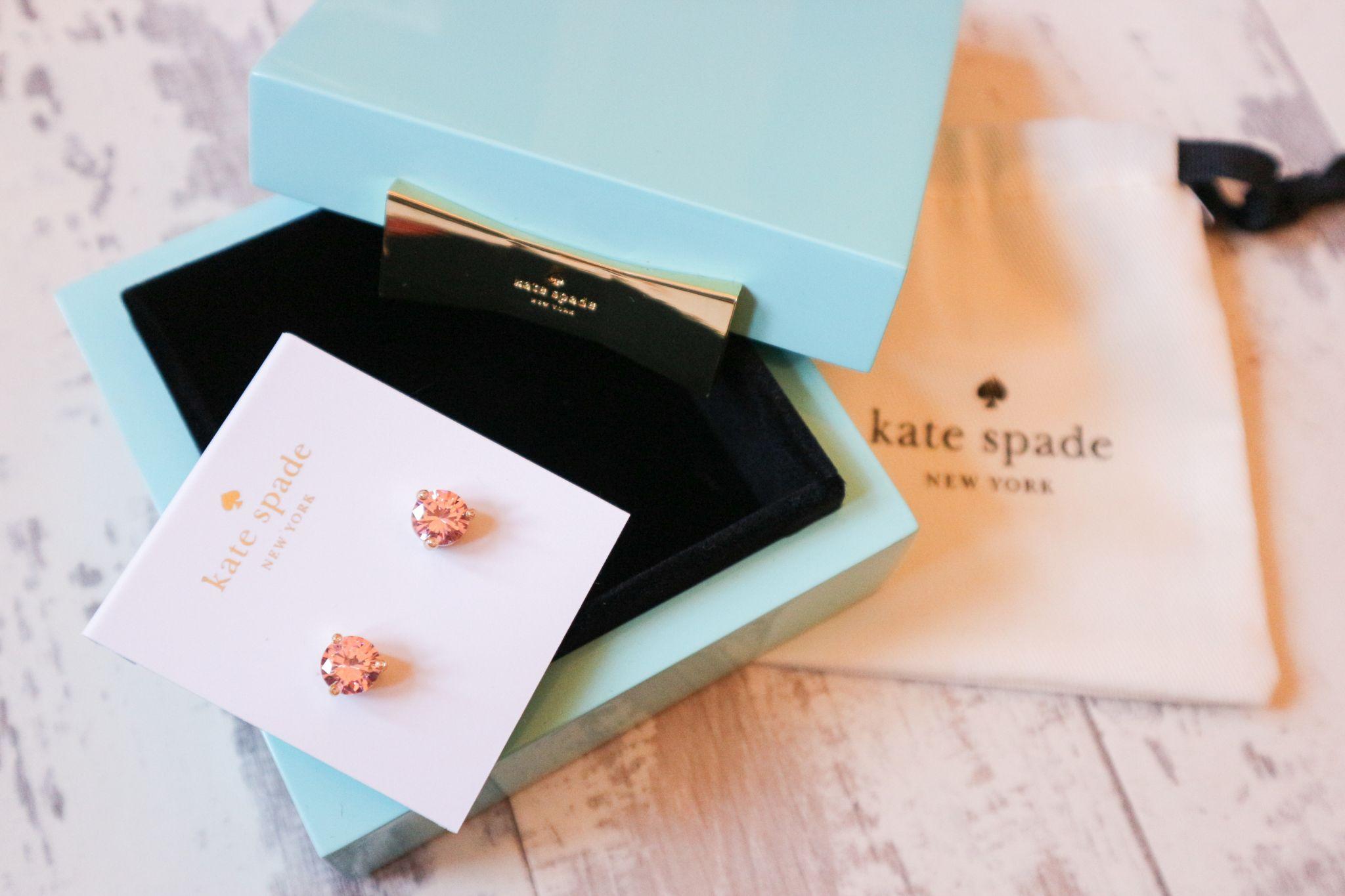 kate spade earrings and trinket box