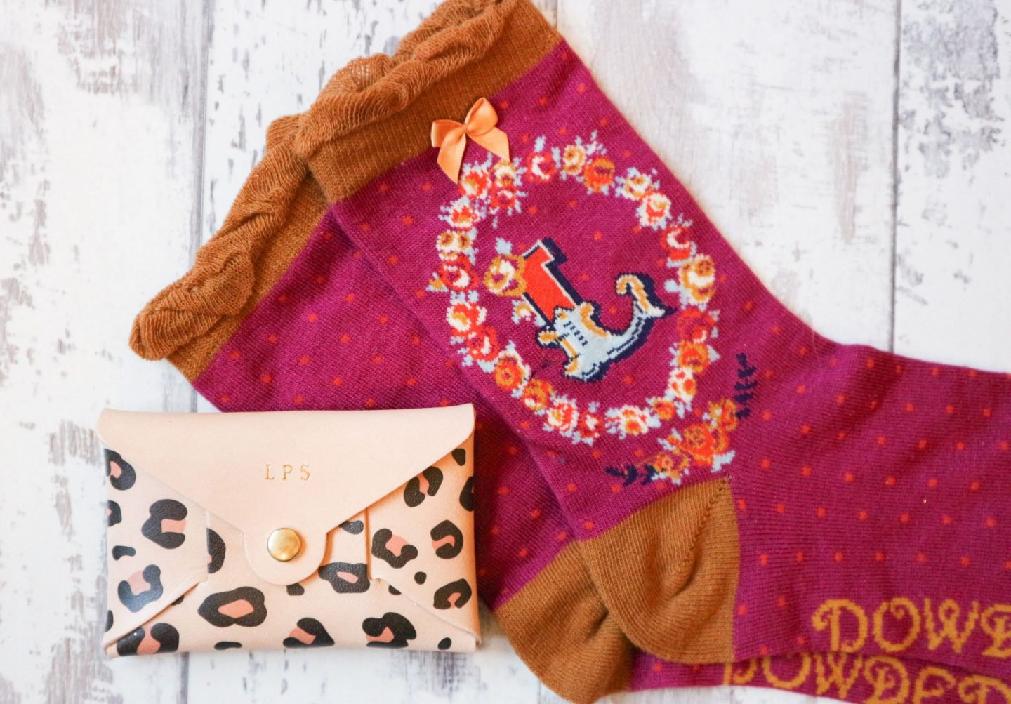 monogrammed purse and socks