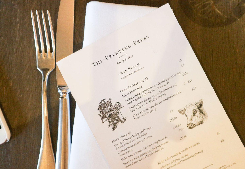 the printing press edinburgh bar scran menu