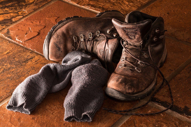 walking boots at the door