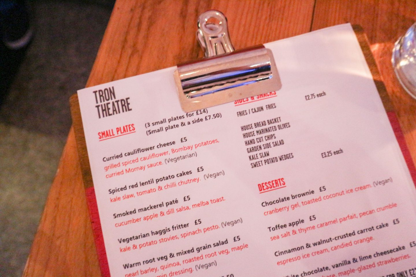 Tron Bar + Kitchen Glasgow menu