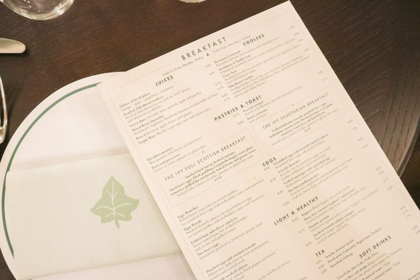 the ivy glasgow menu