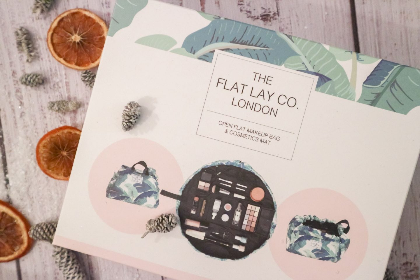 The Flatlay Co London Tropical Leaves Open Flat Makeup Bag
