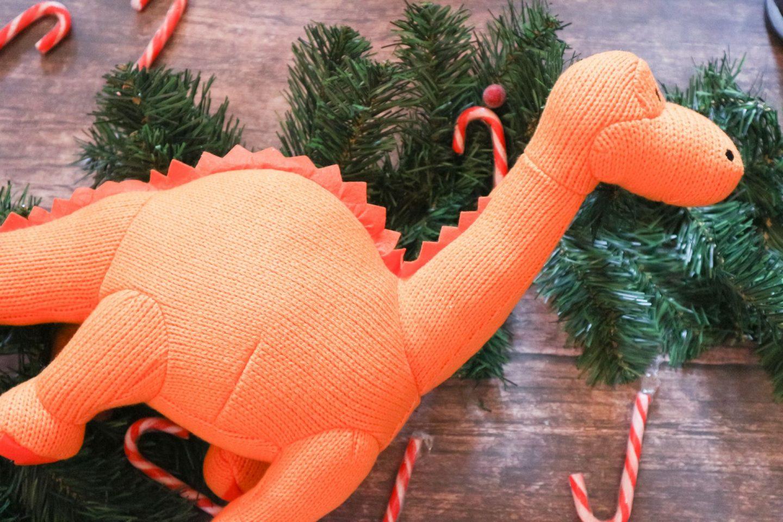 Large Knitted Orange Diplodocus