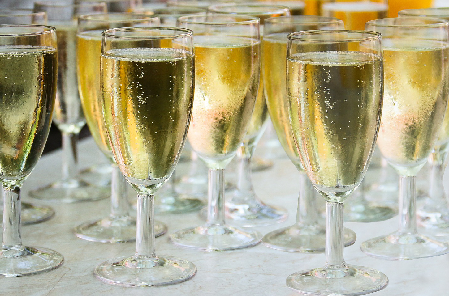 glasses of champagne on table