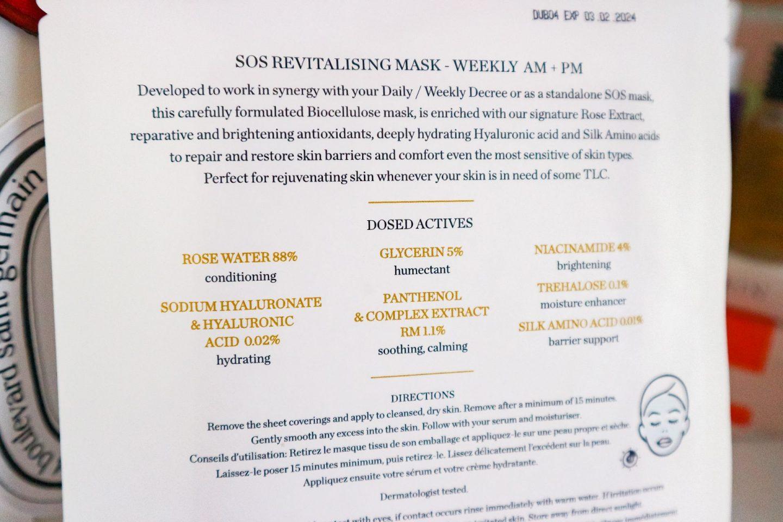 Decree Skincare SOS Revitalising Mask ingredients