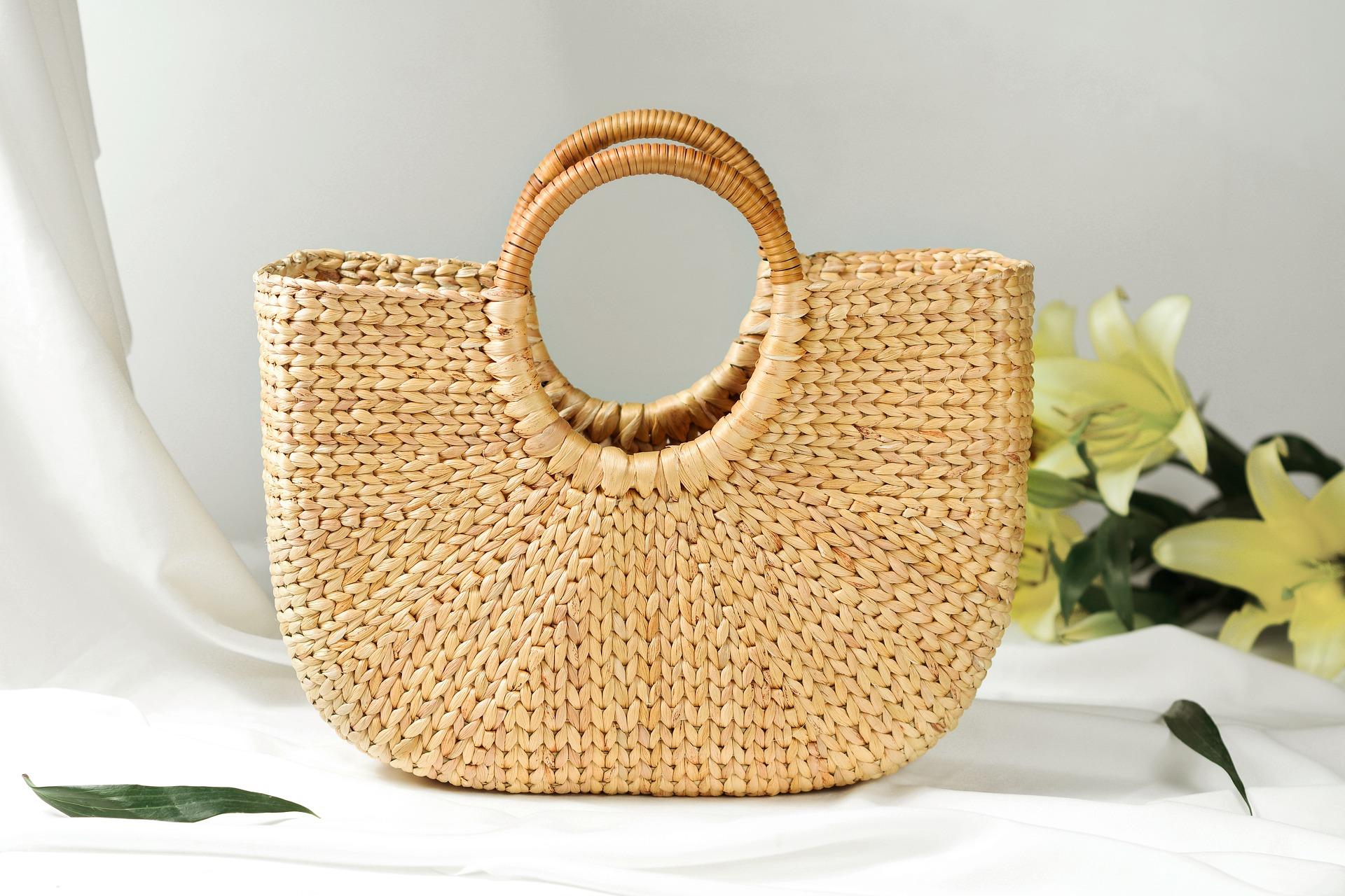 wicker straw handbag