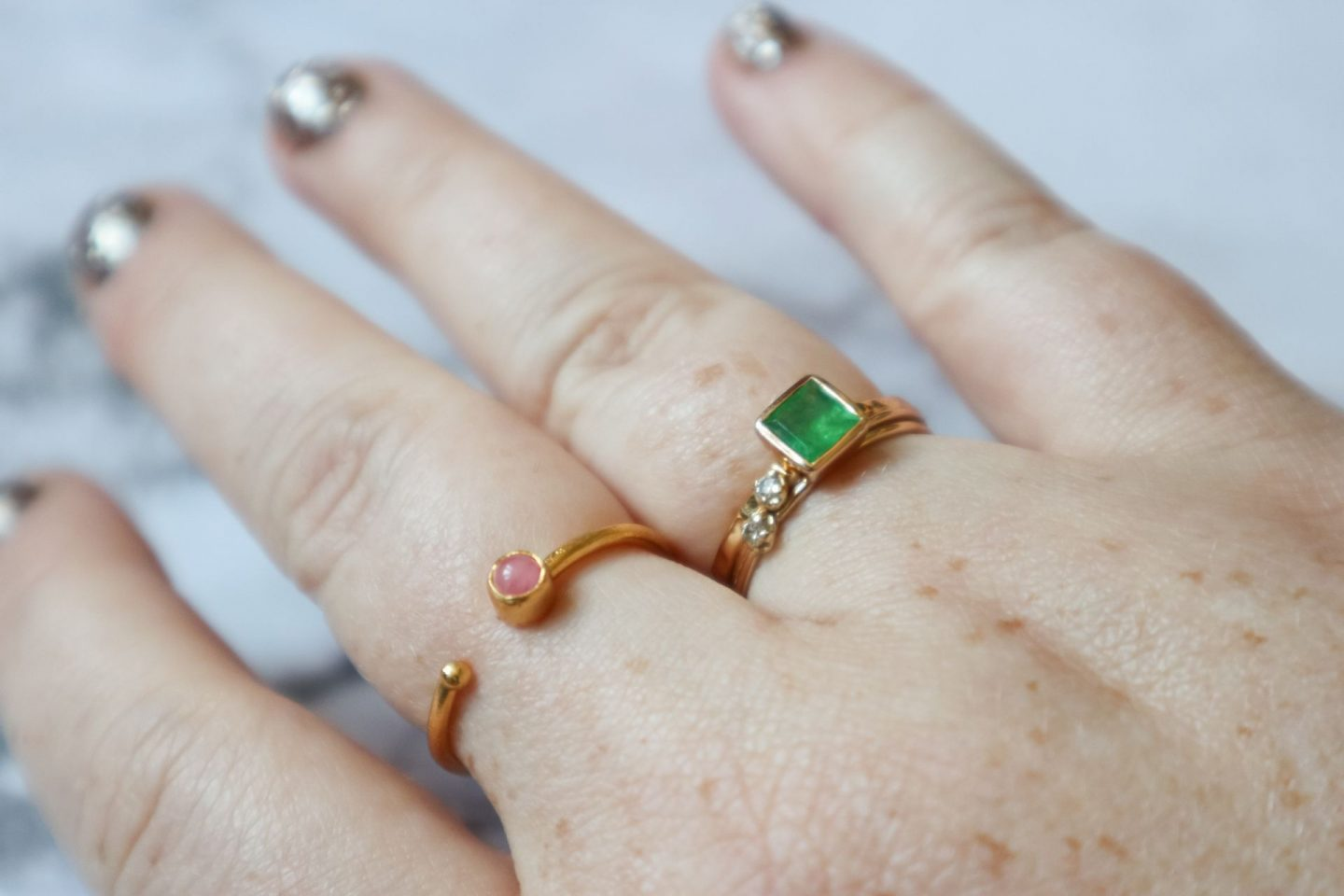 Ottoman Hands Polymnia Emerald Square Stacking Ring