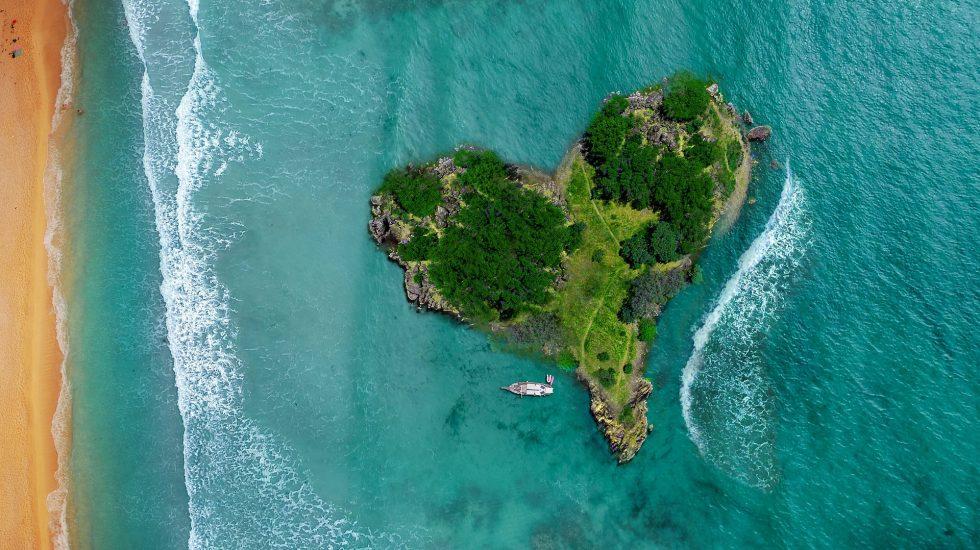 aerial island in ocean