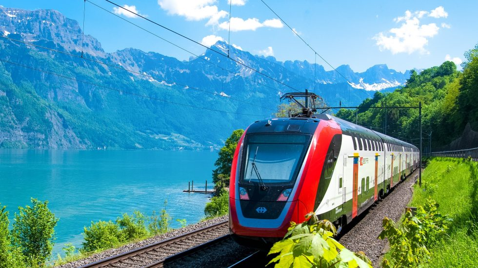 train by mountains