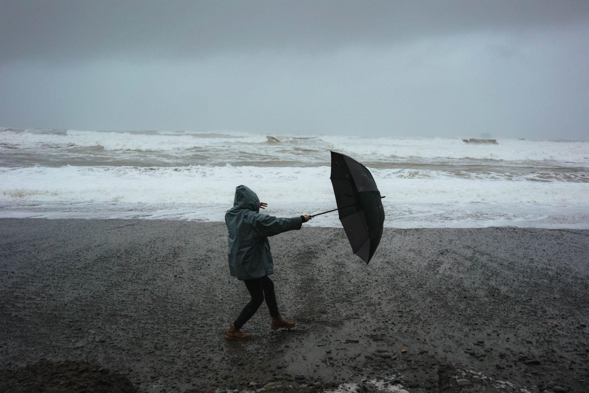 rainy day at beach